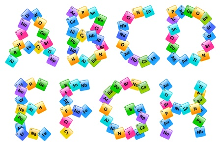 the periodic table: Periodic Table Of Elements Alphabet Letters A-H Illustration