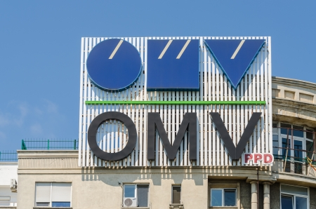 headquartered: BUCHAREST, ROMANIA - JUNE 10: OMV Gas Station Sign on June 10, 2013 in Bucharest, Romania. Is an integrated international oil and gas company, headquartered in Vienna. Editorial