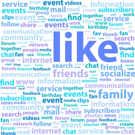 Social Media Word Cloud Concept Illustration Vector