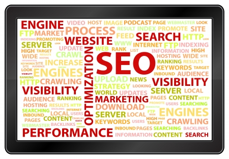 optimizing: Tablet With Search Engine Optimization Word Cloud Illustration
