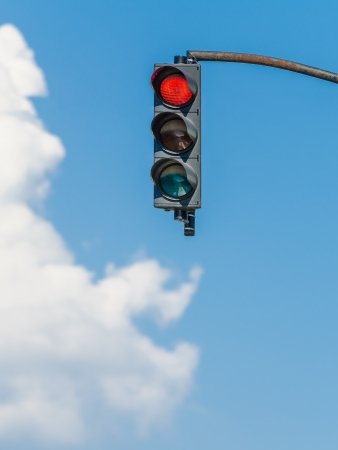 no cloud: Red Traffic Light On Blue Sky
