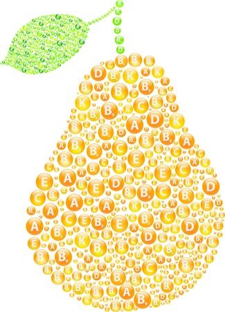 Pear Vitamins Concept Vector