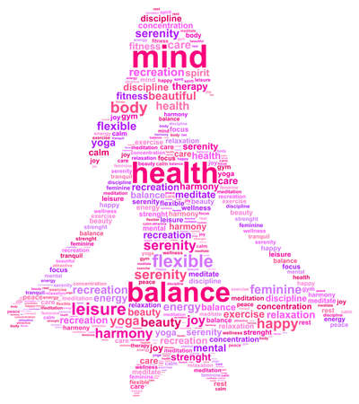 mind body soul: Yoga Girl Illustration nube di parola