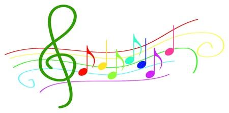 note musicali: Colorate note musicali su Stave