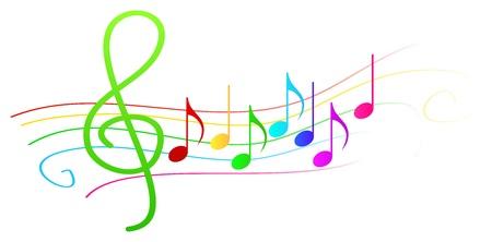 Kleurrijke muzikale noten op Stave Vector Illustratie
