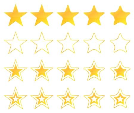 Golden Stars Icon Set Vector