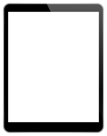 blank tablet: Black Tablet Pc With Blank Screen Isolated Illustration