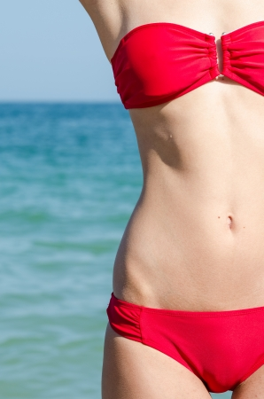 Girl With Great Slim Body On Beach With Ocean Background Stock Photo - 21687898
