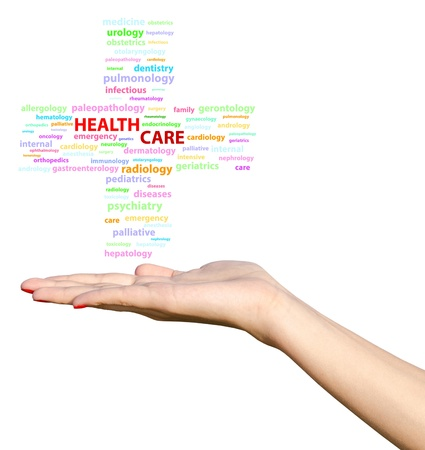 Young Girl Hand Holding Health Care Cross Word Cloud Stock Photo - 21687866