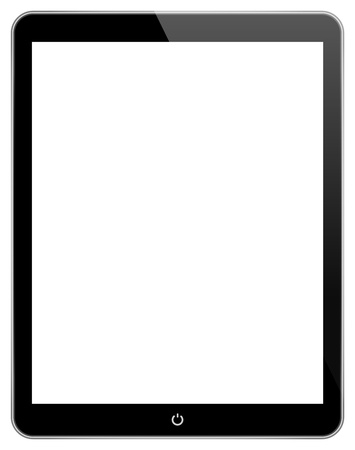Black Business Tablet With Power Button Isolated On White Stock Vector - 21687725