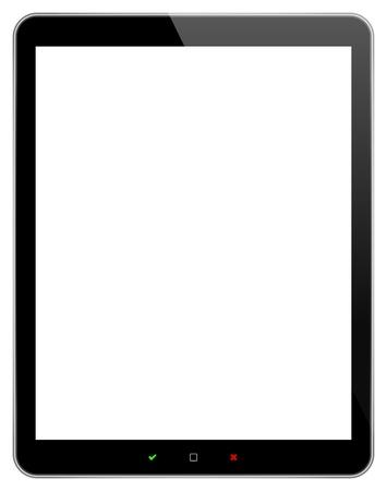 Tableta de negocios negro con aceptar y rechazar botones aislados en blanco