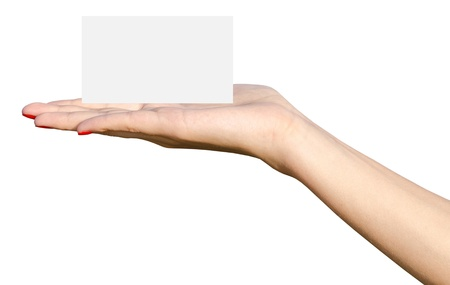 Young Girl Hand Holding Blank White Card Isolated On White Background photo