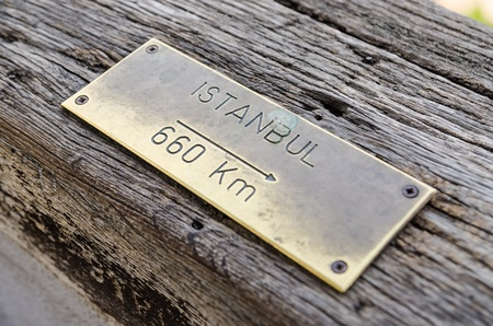 Distance Sign On Wood To Istanbul City photo