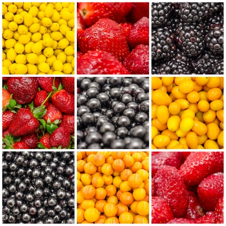 Exotic Summer Sweet Fruits Background Collage With Lemons, Oranges, Strawberries, Blueberries And Bilberries photo