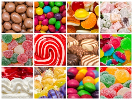 Delicious Sweets Background Collage With Candies, Cookies And Other Confectionery photo