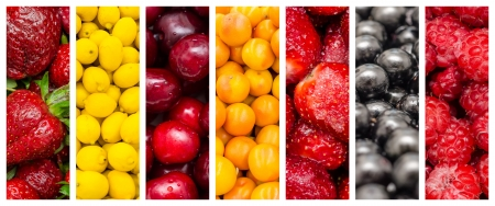Fresh Healthy Summer Fruits Collection Collage Set photo