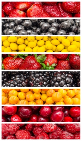 Fresh Exotic Summer Fruits Collage photo