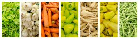 Fresh Vegetables In Market Collage photo
