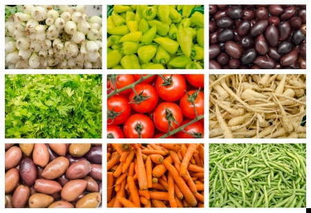 Fresh Vegetables In Market Mix Collage photo