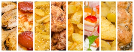 the main: Delicious But Unhealthy Variety Of Fast Food Collage Stock Photo