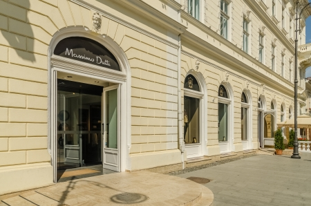 SIBIU, ROMANIA - AUGUST 26  Massimo Dutti Store on August 26, 2013 in Sibiu, Romania  Created in 1985 it is a Spanish company belonging to the Inditex group dedicated to the manufacturing of clothing