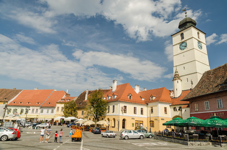 guilds: SIBIU, ROMANIA - AUGUST 27  The Small Square on August 27, 2013 in Sibiu, Romania  The buildings in the Small Square date since the 14th century and used to house crafts workshops and town guilds