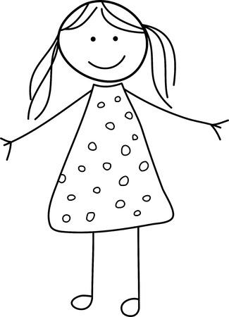 Kind Meisje Schets van de krabbel Stock Illustratie