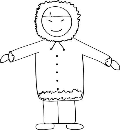 Eskimo Child Doodle Sketch Illustration