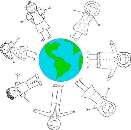 Children Cultural Diversity Holding Hands Around Planet Earth Vector