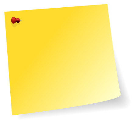 Yellow Sticker Note With Red Pin In Corner Vector