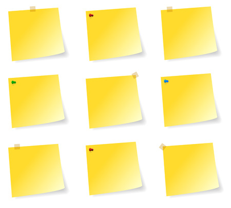 it is isolated: Blank Collection Of Yellow Sticky Notes With Adhesive Tape And Pins
