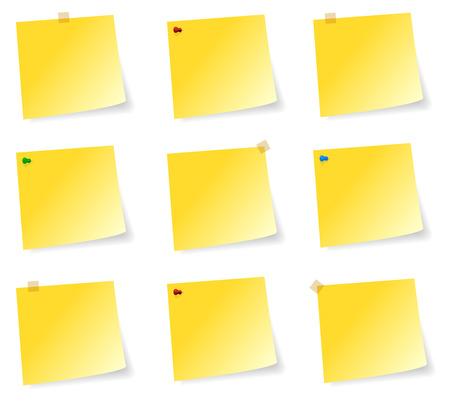 sticky notes: Lege Collectie Van Gele Sticky Notes Met Plakband en Spelden Stock Illustratie