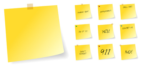 it is isolated: Yellow Post It Sticky Notes With Messages Illustration