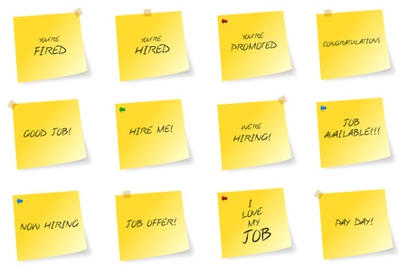 Yellow Sticky Notes With Job Related Messages Vector