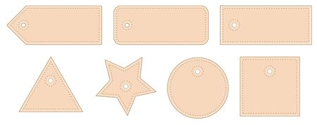 Leather Price Tags Set Vector