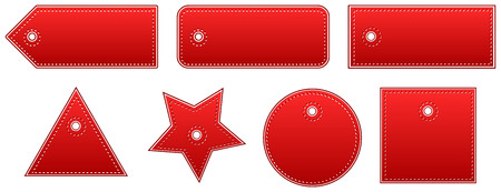 Red Leather Price Tags Set Vector
