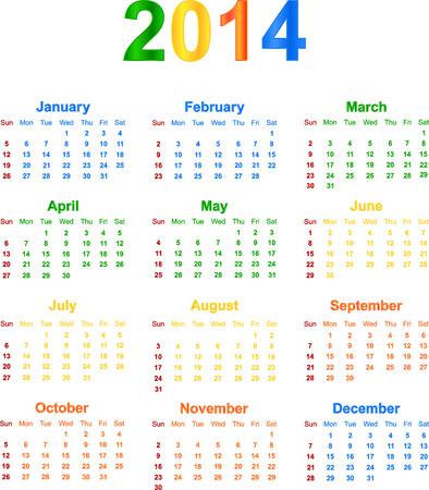 season specific: 2014 Calendar With Season Specific Colors Vector Illustration Illustration