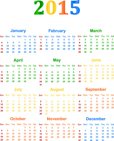 event planner: 2015 Calendar With Season Specific Colors Vector Illustration