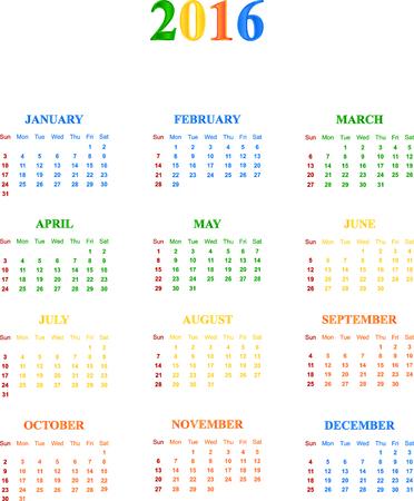 season specific: 2016 Calendar With Season Specific Colors Vector Illustration