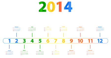 season specific: 2014 Calendar With Season Specific Colors Illustration