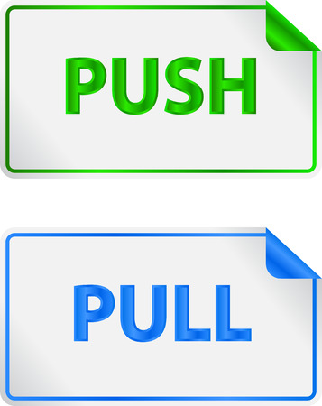 Push And Pull Green And Blue Notice Labels