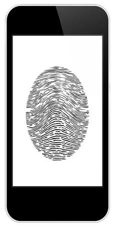 Business Black Smart Phone With Fingerprint Access Vector