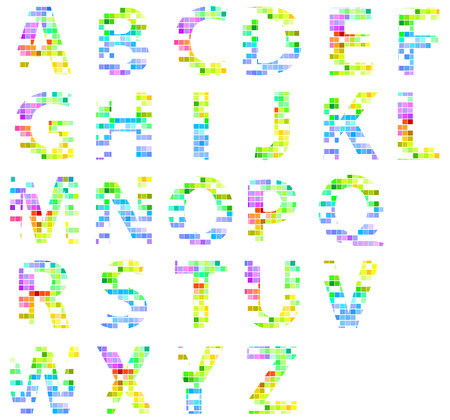 Colorful Modern Square Mosaic Alphabet Letters Vector