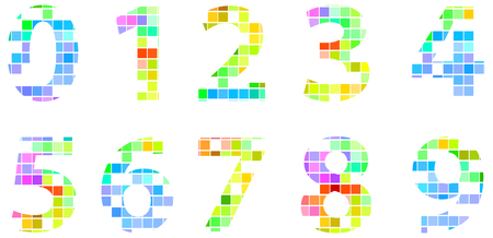 Colorful Modern Square Mosaic Numbers Vector
