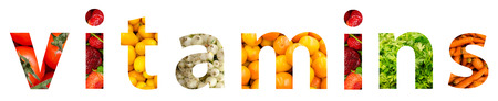 c vitamin: Vitamins Word Concept Made From Fruits And Vegetables Stock Photo