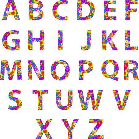 retro disco: Las letras del alfabeto con los C�rculos Retro Disco Textura