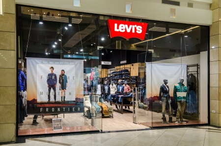 levi: BUCHAREST, ROMANIA - OCTOBER 09  Levi Strauss store on October 09, 2013 in Bucharest, Romania  Founded in 1853, Levi Strauss is an American clothing company best known for its brand of denim jeans  Editorial