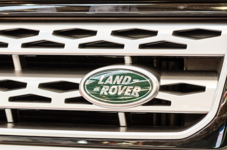 fourwheeldrive: BUCHAREST, ROMANIA - OCTOBER 11  Land Rover Sign on October 11, 2013 in Bucharest, Romania  Launched in 1948 Land Rover is a British car manufacturer which specialises in four-wheel-drive vehicles