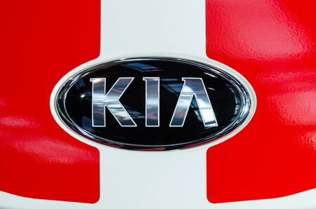 headquartered: BUCHAREST, ROMANIA - OCTOBER 11  Kia Motors Sign on October 11, 2013 in Bucharest, Romania  Founded in 1944 and headquartered in Seoul, is South Korea s second-largest automobile manufacturer