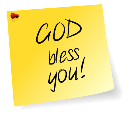 bless: Yellow Sticky Note With God Bless You Message Illustration
